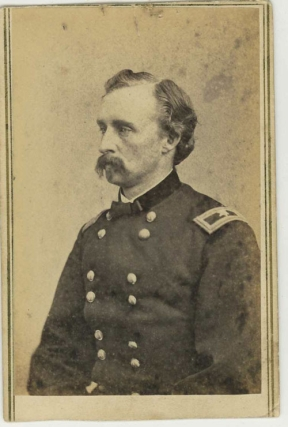 Carte de visite portrait photograph of George Armstrong Custer, in Civil War uniform. George Armstrong Custer, Mathew Brady.