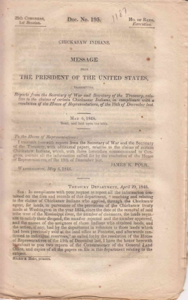 Chickasaw Indians. Message From the President of the United States, Transmitting a Report from...