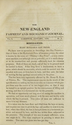 The New-England Farmers' and Mechanics' Journal. Vol. 1 Nos. 1-7 &10. E. Holmes, ed.