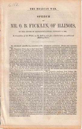 Mexican War. Speech of Mr. OB. Ficklin, of Illinois. O. B. Ficklin