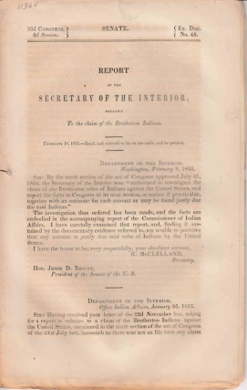 Report of the Secretary of the Interior, relative to the claim of the Brotherton Indians. Brotherton Indians.