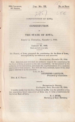 CONSTITUTION OF IOWA ADOPTED IN CONVENTION NOVEMBER 1, 1844. Iowa.