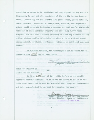 """Original Typed Document, signed in ink (""""Raymond Chandler""""), dated 29 May 1942, assigning exclusive motion picture rights for his unpublished book """"entitled BRASHER DOUBLOON (alternate title HIGH WINDOW)"""""""
