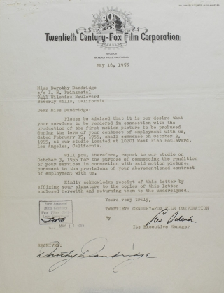 "Typed Contract signed between Dorothy Dandridge and Twentieth-Century Fox, to ""render services as star or co-star in two class 'A' feature length motion pictures"""