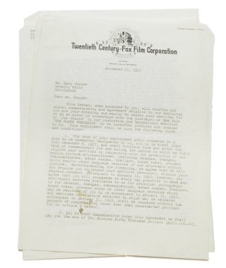 "Typed Contract signed, between Gary Cooper and Twentieth-Century Fox , being agreement that Cooper play the role of ""Joe Chapin"" in the production of TEN NORTH FREDERICK (1958). Gary Cooper."