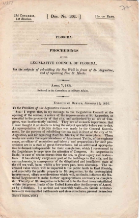 Proceedings Of The Legislative Council Of Florida, On The Subject Of Rebuilding The Sea Wall In...