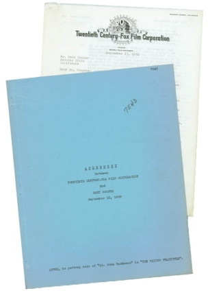 Typed Contract signed, between Gary Cooper and Twentieth-Century Fox , to portray the role of...