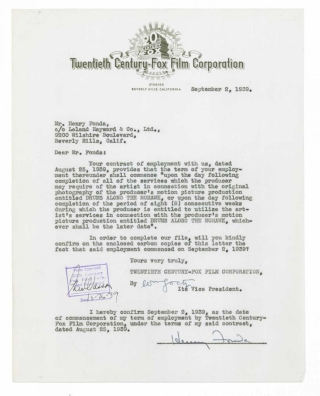 Typed Letter Signed to Twentieth-Century Fox, confirming that their one-year contact begins on September 2, 1939 - just be fore the making of THE GRAPES OF WRATH (1940)