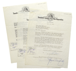 Group of 3 typed letters from 20th-Century Fox, signed by Mansfield, extending options on her...