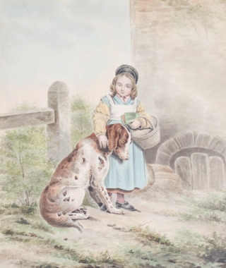 Watercolor on paper: Young girl holding a book and basket, petting a dog