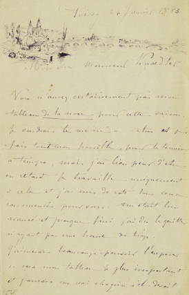 "Autograph Letter Signed, to ""Monsieur Knoedler"", with an original pen-and-ink sketch of Poissy...."