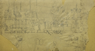 Drawings, two sided. with some damage. Friends identified by name on the larger more complcated image. Langley Collyer.