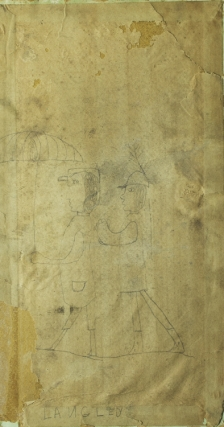 Drawings, two sided. with some damage. Friends identified by name on the larger more complicated image