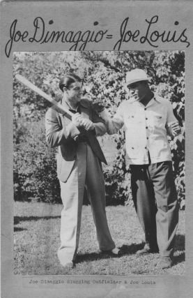 Photograph of Joe Dimaggio and Joe Louis posing playfully together. Baseball