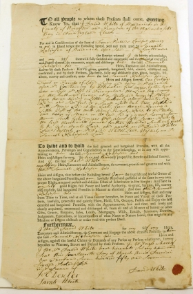 "1757 Massachusetts Document with Paid 4 Pence ""Sailing Ship"" Vignette Embossed Revenue Stamp..."