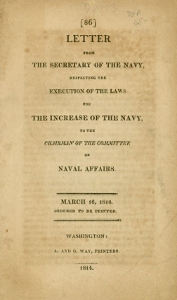 Letter from the Secretary of the Navy, respecting the execution of the laws for the increase of...