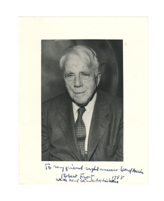 "Photograph Signed (""Robert Frost"") and Inscribed at lower margin for Lionel Aucoin, ""To my friend..."