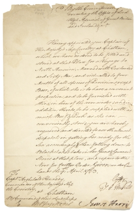 Manuscript document, one page, signed by Thomas Orby Hunter, James Harris (tear affecting letter) and G. Hay, as Commissioners. Pontiac's Rebellion, Commissioners executing the Office of Lord High Admiral of Great Britain.