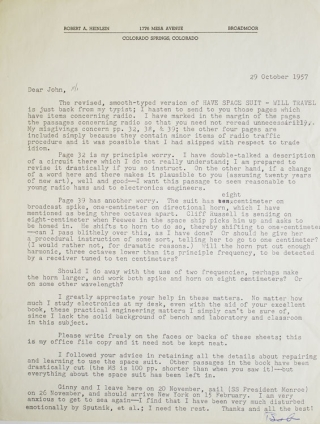 Science-fiction correspondence of John R. PIERCE with Robert A. HEINLEIN, Arthur C. CLARKE, and John W. CAMPBELL, Jr