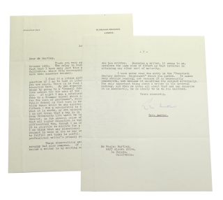 "Typed Letter Signed (""Eric Ambler"") to Westley S. Hartley, in response to the latter's question regarding the value of Ambler's education to him as a writer"