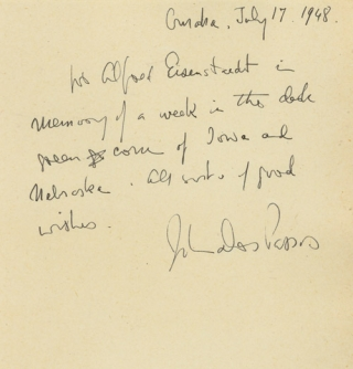 "Autograph Note Signed (""John Dos Passos"") to Alfred Eisenstaedt: ""To Alfred Eisenstaedt in memory..."