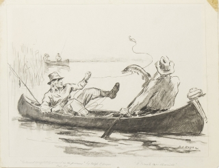 "Original drawing for ""A Tomato Can Chronicle"": ""Pop turned completely around in the process"", depicting two men in a canoe, the first a fisherman snared in his line and the second attempting to steady the canoe with his paddle, a leaping fish beside the canoe, and two other fishermen in a canoe in the distance"