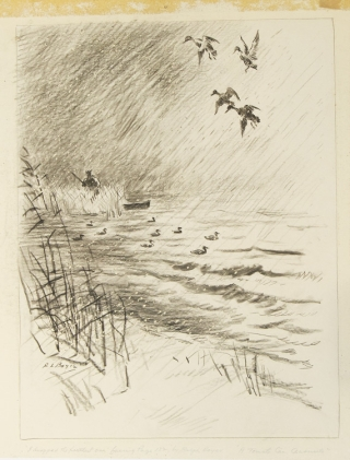 "Original drawing for ""A Tomato Can Chronicle"": ""I dropped the farthest one"", a stormy marsh scene of a hunter in a stand of reeds, three ducks in flight above the water, a fourth just starting to fall"