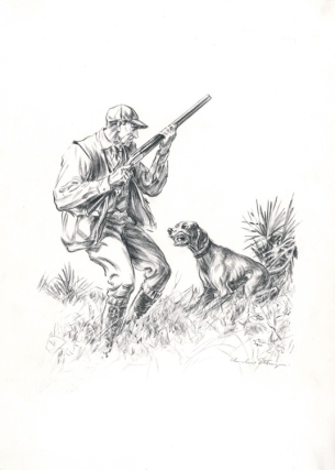 "Original drawing for ""The Happy End"": to illustrate the story ""Cash in Hand"", depicting a hunter..."