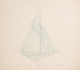 "Original drawings for ""Men Against the Rule"": three comparative diagrams illustrating the evolution of yacht design: Puritan - Reliance, Reliance - Enterprise, and Puritan - Enterprise"