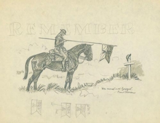 "Squadron A Collection: ""Sway-backs Reunion"", ink drawing of a cavalry soldier in uniform with crutch and bottle, giving his mount a drink from a saucepan. [And:] A Group of 26 pencil sketches relating to Squadron A (horse and military scenes)"
