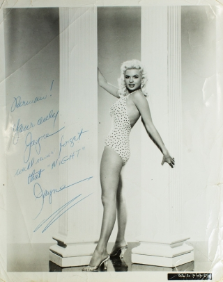 "Photo in full profile in bathing suit. Inscribed, ""Herman! Your only Jayne will never forget that..."