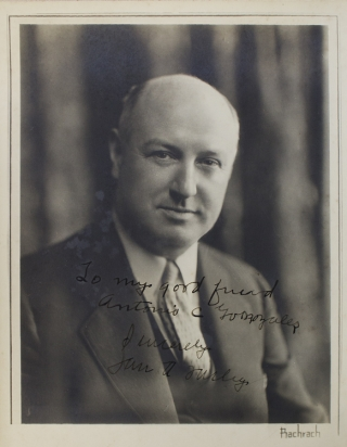 Portrait photograph of James A. Farley, inscribed. James T. Farley, photographer Bachrach Studio