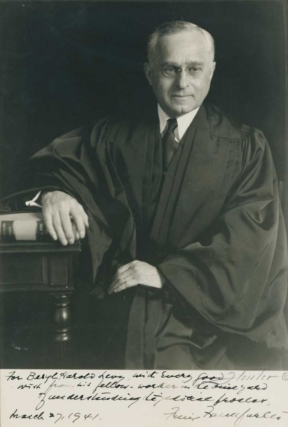 Portrait photograph of Justice Felix Frankfurter, signed and inscribed to Beryl H. Levy. Felix...