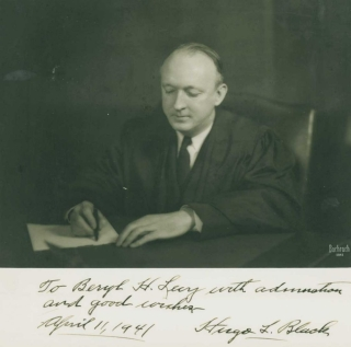 Photograph, signed To Beryl H. Levy. Hugo Black.