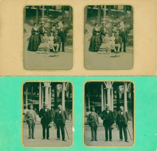 Two tintype stereographs taken at Saratoga Springs of Morton family. A. E. Alden.