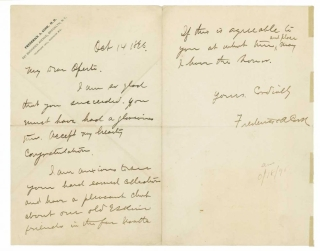 "Autograph Letter, signed (""Frederick A. Cook"") to the Arctic artist Albert Operti, congratulating..."