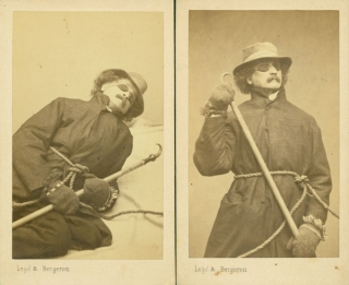 Two cartes-de-visite of Francis Copcutt, in mountaineering gear, re-enacting his ascent of Mont Blanc