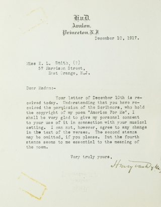 Typed Letter, signed, to Miss E.L. Smith about permission to use a poem. Henry Van Dyke