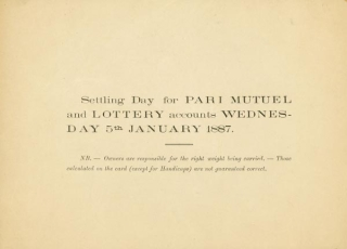 Khedivial Sporting Club. Cairo 1st Winter Races. First Day Wednesday 29th December 1886. WITH:...