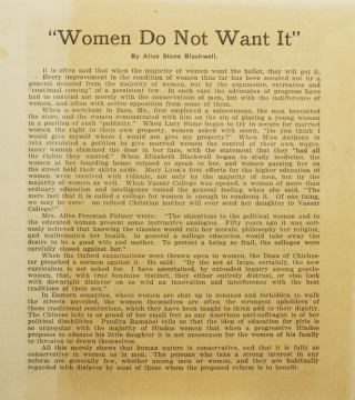 """Women Do Not Want It."". Alice Stone Blackwell"