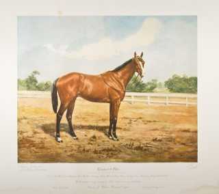 """Gallant Fox"" Hand-colored print of the celebrated racehorse ""Winner of the Flash, Junior Champion, Wood, Preakness, Kentucky Derby ... World's Greatest Money Winner in 1931 ... Property of William Woodward Esquire"""