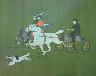"Chromolithograph: ""No 28 "" Man in small carriage and two women in motor carriage"