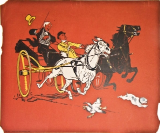 "Chromolithograph: ""No 29 "" Two men with runaway carriage , with dog in front and rooster running away"