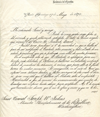 "Autograph Letter Signed (""Buenaventura Baez""), as President to Colonel Joseph W. Fabens, Minister..."