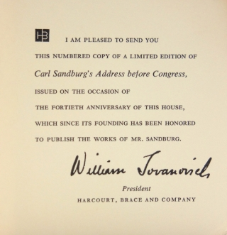 Address of Carl Sandburg Before a Joint Session of Congress, February 12, 1959