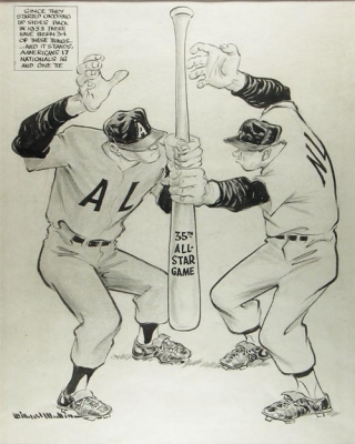 "Original pen and ink of 35th All Star Game, ""Since they started choosing up sides back in 1933..."