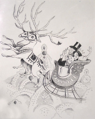 New Yorker drawing: original ink drawing of Christmas subject. New Yorker Magazine Art, Michael Witte.