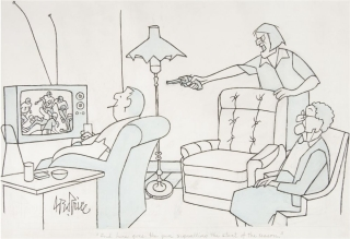 "New Yorker cartoon: original ink and colored wash drawing, signed ""Geo. Price"" and captioned in the artist's hand"