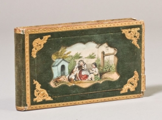 Collection of Autograph Sentiments in German, including Love Poems with drawings, preserved in a Green Velvet Book Box with Handcolored Sentimental Vignette on Upper Cover. Commonplace Book.
