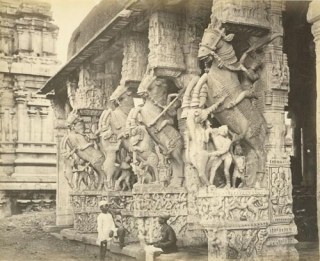 Mundapum, with facade of carved horses. Samuel Bourne.